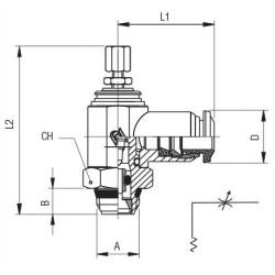 """Valvula de seguridad TOSACA roscada 1216 INOX CF3M/316L DN1/2x3/4"""" 0,6Bar"""